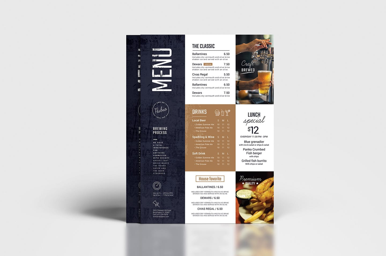 diseño carta menu bar