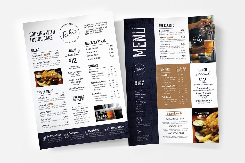 diseño de menu online